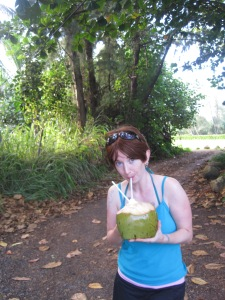 Yours truly, drinking the best damn coconut water ever in Oahu, Hawai'i.