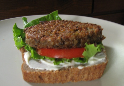Amy's Bistro burger, on teff bread.