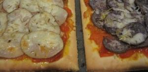 Potato pizza, with sauce.