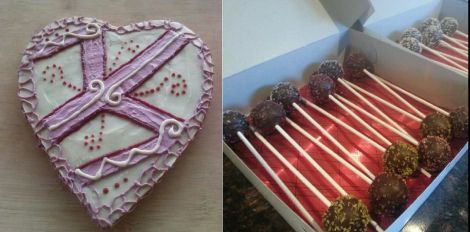 On the left: Cacao Tree's heart-shaped cake; on the right, Motown Freedom Bakery's cake pops.