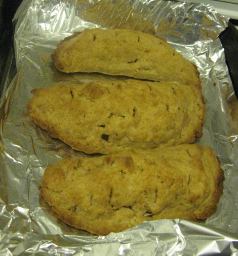 A trio of cooked pasties.
