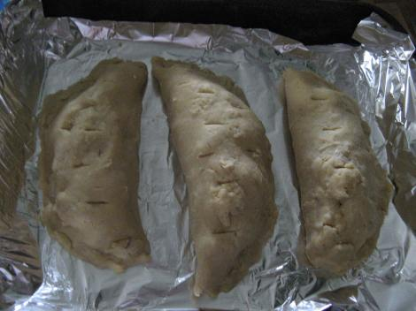 Uncooked pasties, waiting for the oven to pre-heat.