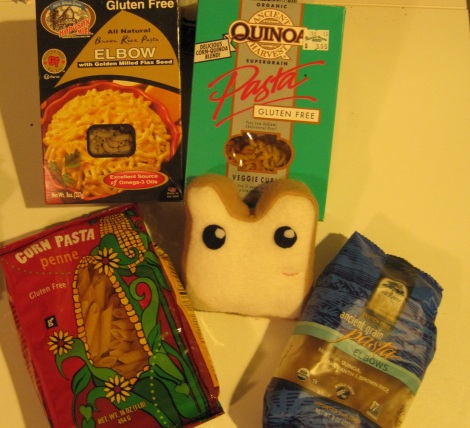 Plushie felt bread is happy to be surrounded by so many tasty pastas.