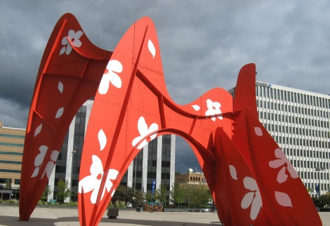 The infamous Alexander Calder sculpture downtown, decked out with flowers for Art Prize.