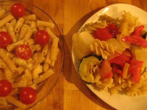 Tinkyada pasta on the left; Goldbaum's on the right.