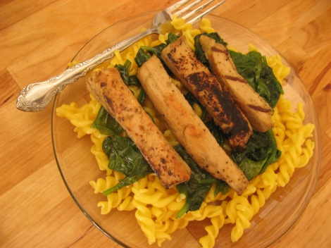 Beyond Meat, paired with Full Circle's gluten-free pasta and mother nature's spinach.
