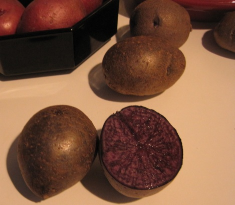 Their skin isn't very purple, however. Redskin potatoes are on the left, for comparison.