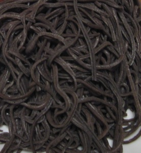 Black noodles.