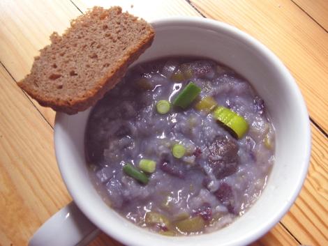 Purple potato soup. That's teff bread from Tasty Bakery in Ann Arbor.