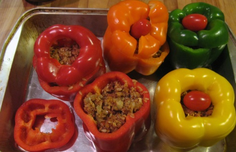 Stuffed but raw peppers.