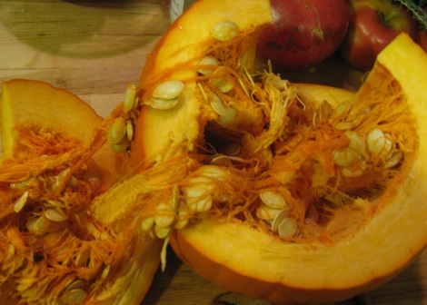Don't forget to save the pumpkin seeds for roasting.