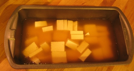 Tofu in broth.