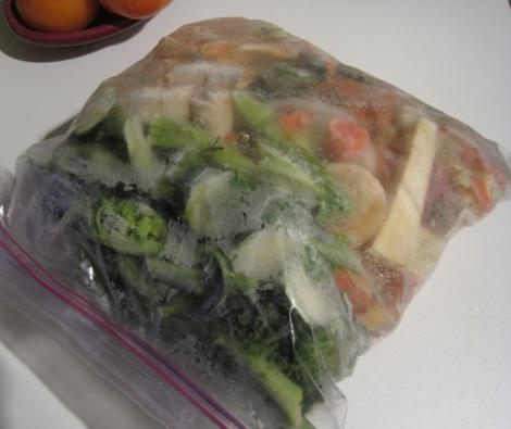 Bag of frozen vegetables.