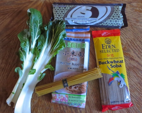 From left: millet noodles; Eden's buckwheat noodles; and King Soba noodles.