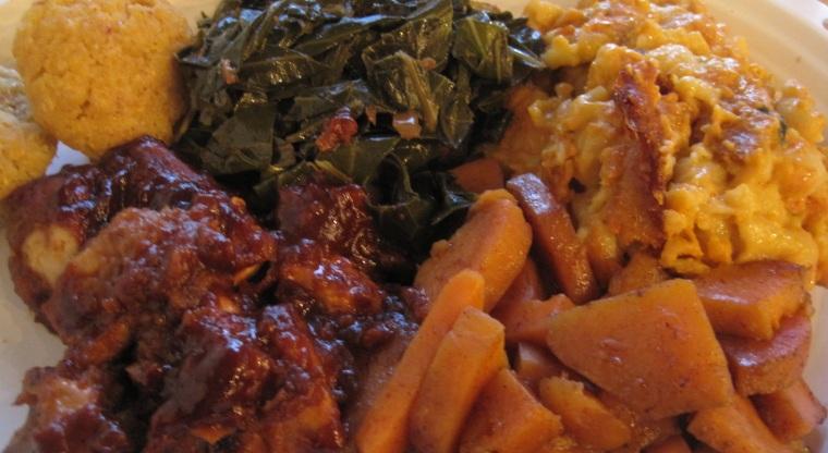 Detroit Vegan Soul's collard greens, BBQ tofu, sweet potatoes and mac and cheese.