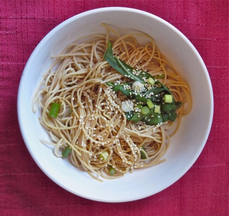 Millet noodles with green onions and bok choy.