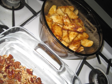 Raw apples waiting to join the walnuts.