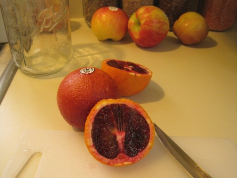Sliced blood orange.