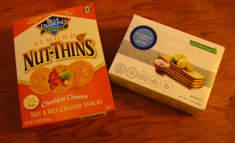 Blue Diamond and Goldbaum's crackers.