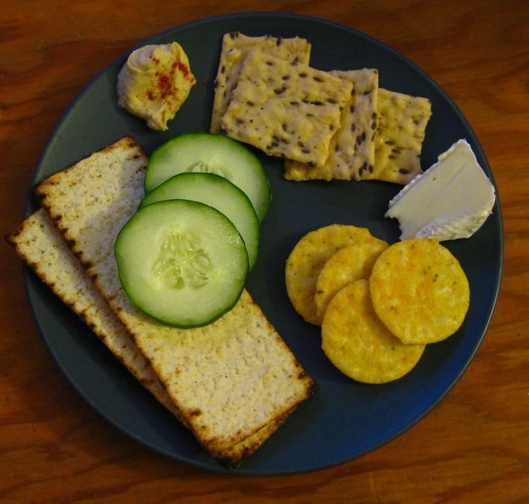 From left: Goldbaum's flatbread crisps; Blue Diamond flax seed crackers; Blue Diamond cheddar cheese crackers.