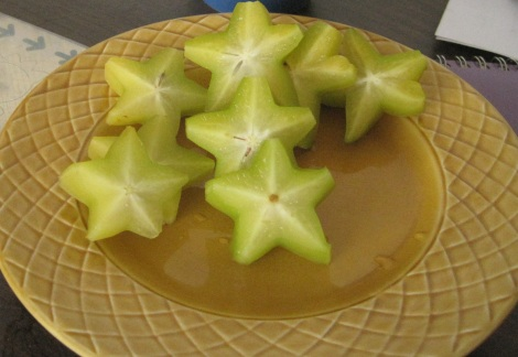 Sliced Hawaiian starfruit.