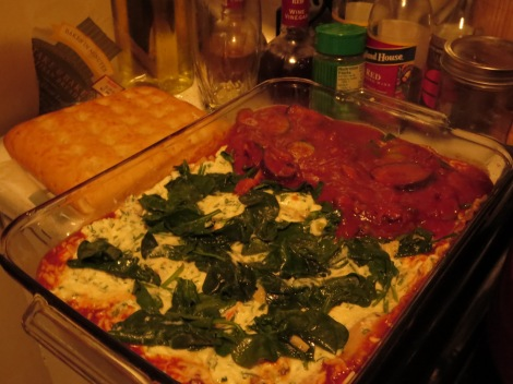 Add the spinach on top of the ricotta...