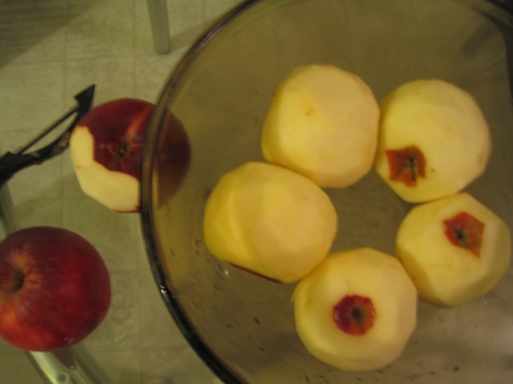 Peeled apples.