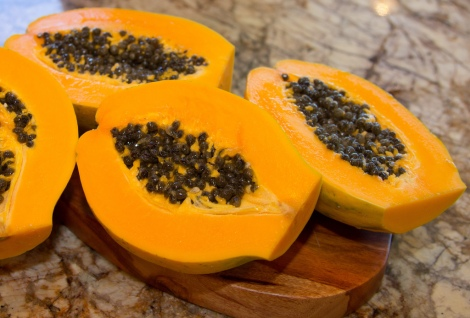 Sliced papaya. Credit: © Kim-Marie Troutman Photography.
