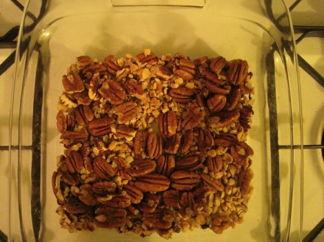 Pan lined with walnuts, in lieu of crust.