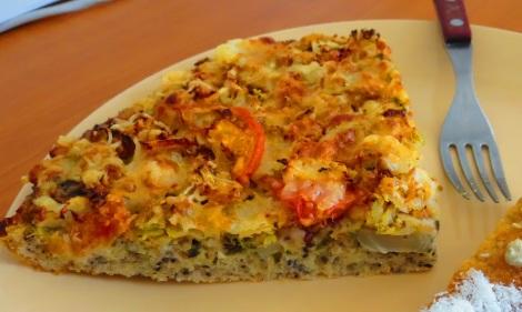 Gluten-free, vegetable Czech pizza.