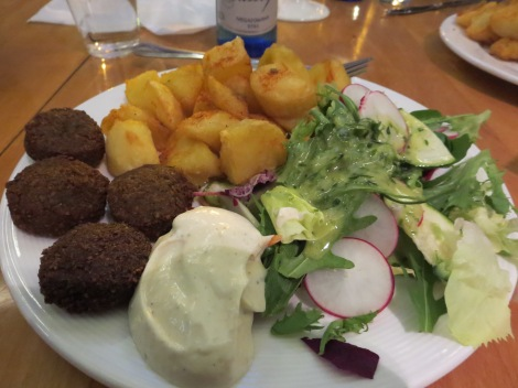 Dinner at Vega: falafel, potatoes and salad.