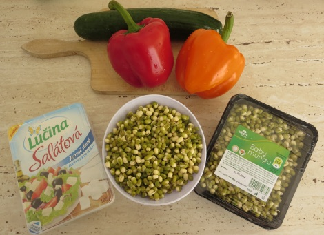 Mung beans, and some delicious cheese that is not feta.