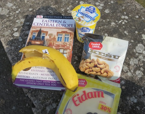 Snacking in Czech: bananas, peanuts and cheese.