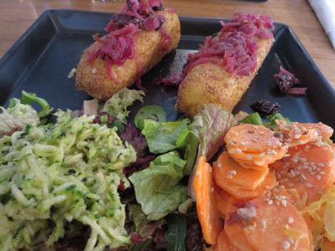 Potato croquets, carrots and salad at Machina Oragnika.