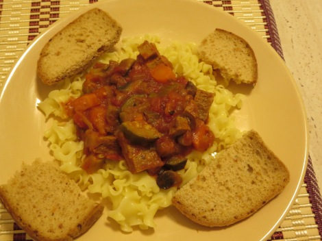 Goulash, served with bread, as goulash in Czech served.