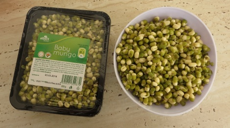 Sprouted mung beans.
