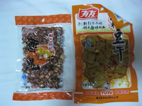 Packaged tofu in China.
