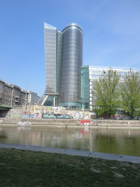 Modern building by the Danube River in Vienna.