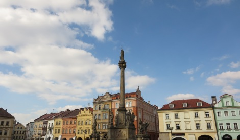 The main square in Hradec Králové, Czech Republic.