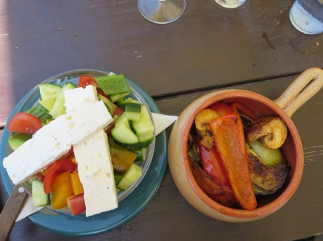 Salad with cheese and roasted veggies.