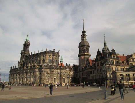 A view from the Aldstadt, the more historic and touristy area of Dresden.
