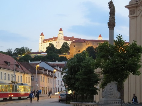 Bratislava Castle at night.