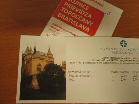 Ticket from Bojnice Castle.