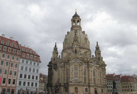 Dresden's Frauenkirche. On the left, you can see the darker bricks, which were all that was left after the bombing in WWII.