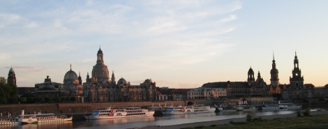 Skyline of Dresden's Aldstadt, with the Frauenkirche on the left.