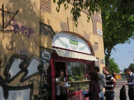 Outside the Vegan Bar.