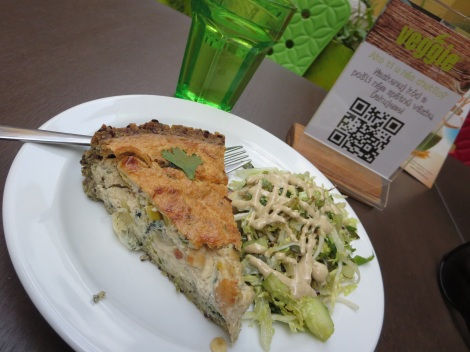 Quiche and salad at Veggie's.