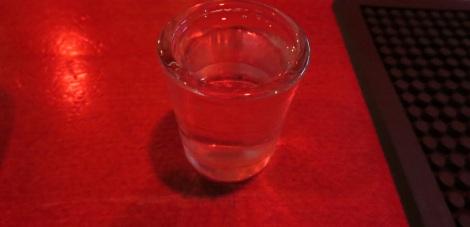 A shot of borovička, ready to go.