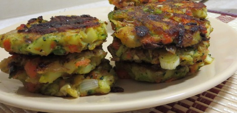 Stack of bubble and squeak patties.