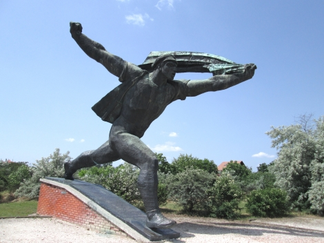One of the huge communist statues from Memento Park.